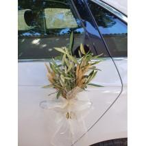Lazos de coche sinamay 70 mm escarapela c/prendido de trigo y olivo preservado