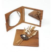 Regalo espejo cuadrado madera oscura 7 x 7 cm sin decorar