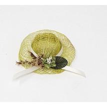 Regalo montaje sombrero sinamay verde decorado