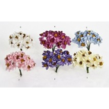 Pomito flor mini papel magnolia x 12 uni azul cielo
