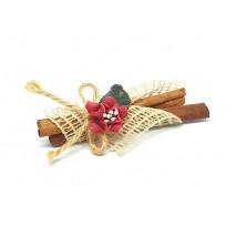 Regalo boda tock canela decorado  8 cm con cinta de red y flor