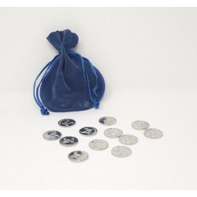 Arras plateadas con bolsa terciopelo azul