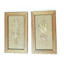 Cuadro marco fondo arpillera flores secas 27 x 47