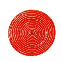 Bajoplato plástico redondo rojo/dorado d.31 cm