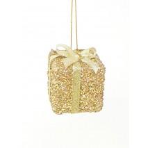Bolsa 3 detalles colgantes cajas regalos 6 x 6cm dorada