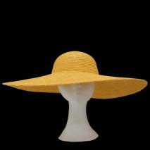 Pamela paja abombada copa d.52-53 cm x 8 cm ala 17 cm dorada amarilla