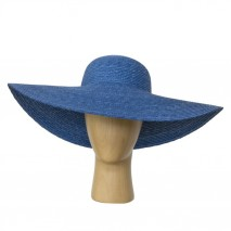 Pamela paja abombada copa d.52-53 cm x 8 cm ala 17 cm azulina