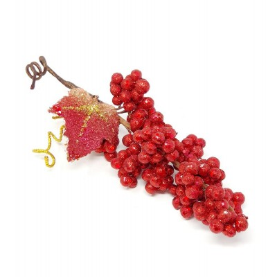 Detalle frutas uva brillante 20cm rojo