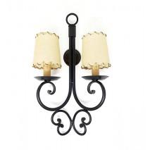 Lámpara aplique pared hierro negro 48 x 26 cm 2 luces c/pantalla pergamino d.8cm