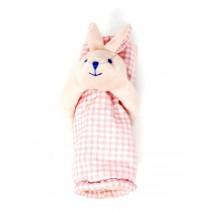 Cubrebiberón tela vichy con conejo rosa 18 x 8cm