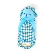 Cubrebiberón tela vichy con perro azul 18 x 8cm