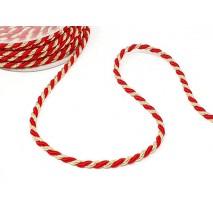 Rollo cordón rayón  6 x 15 mts. rojo/dorado