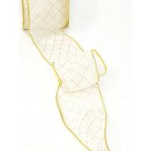 Rollo cinta tela 60mm x 10mtros. alambrada organdí motivos cuadros diagonales dorado/blanca