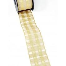 Metro cinta tela 60mm organdí motivo cuadros beig/oro