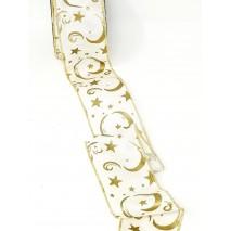 Rollo cinta tela 60mm x 10 mtros  alambrada otomán motivo estrellas doradas blanco