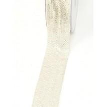 Metro cinta tela yute 40mm plata/blanco