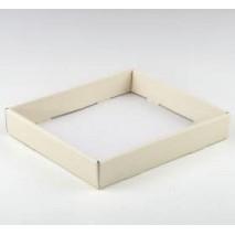 Bandeja cartón para detalles rectangular con blonda de papel 43 x 29 cm marfil