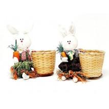 Canasta con conejo tela 25 x 20cm