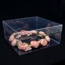 Caja acetato tocado cuadrada 23 x 23 x 10 cm