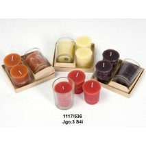 Juego 3 vela olor con vaso cristal 9 x 4 5cm