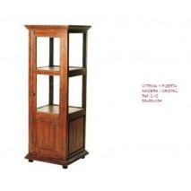 Mueble vitrina 1 puerta madera cristal