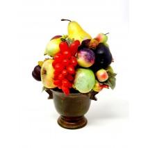 Centro de frutas artificiales d 26 Alt 34cm copa barro envejecida
