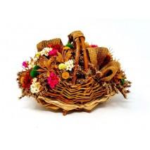 Centro cesta de flores secas 17 x 12cm