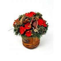 Centro flores secas d 18cm Alt 20cm rosas rojas base madera