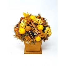 Centro flores secas d 18cm Alt 20cm limones base madera rústica