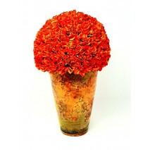 Centro rosas pitiminí d 22cm Alt 33cm naranja maceta envejecida