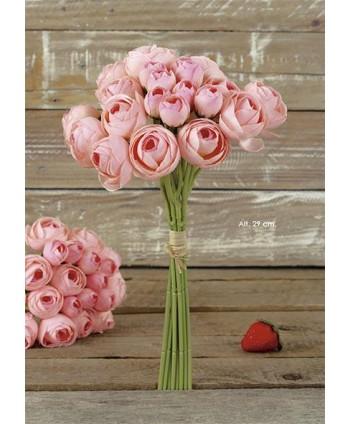 Pomo bouquet ranunculus x 22 fl 30cm rosa