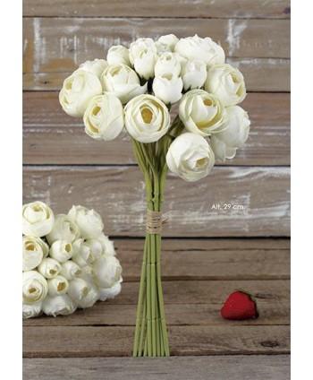 Pomo bouquet ranunculus x 22 fl 30cm marfil