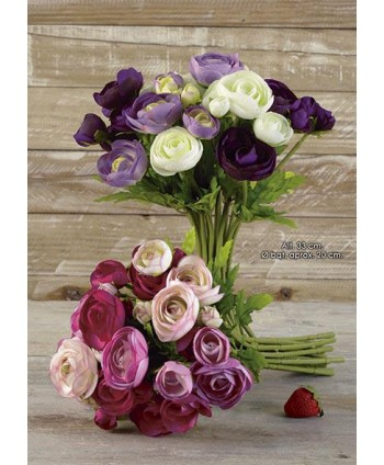 Pomo bouquet ranunculus x 18 fl 33cm malva/morado