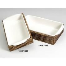 Fuente cerámica/rattan...
