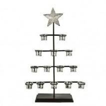Árbol navidad c/ 14 portavelas para base metal 74 cm óxidon c/estrella en copa de cristalito