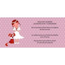INVITACION COMUNION C/SOBRE MARFIL PAPEL ESTUCADO MATE 250 GRS 9,5 X 22 CM