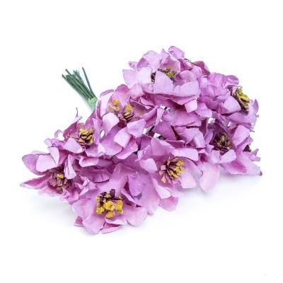 Pomito flor mini papel magnolia x 12 uni rosa fucsia