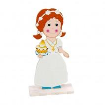 Figura madera niña comunión c/pastel 16 cm