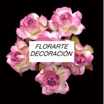 Pomito flor mini papel rosa 3,5 cm x 6 buganvilla/crudo