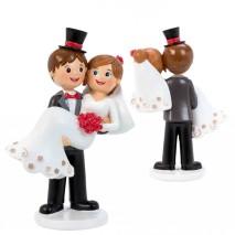 Figura pareja novia en brazos 17,5 cm