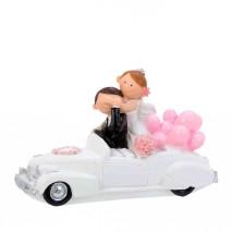 Figura pareja novios en coche c/globo rosa 15,5 x 6 x 10 cm